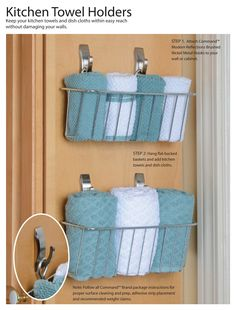 How to organize kitchen towel. Get the instructions for this easy DIY here. #CommandHooks