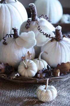 White sweater pumpkins - DIY tutorial and inspiration