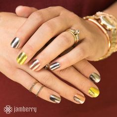 Fall in love with this metallic mixed-mani from Jamberry. Sophisticated and elegant, is calling your name. Jamberry Fall, Jamberry Nail Wraps, Jamberry Style, Autumn Inspiration, Nails Inspiration, Fall Jams, Nails 2015, Fall Manicure, Fall Nail Designs