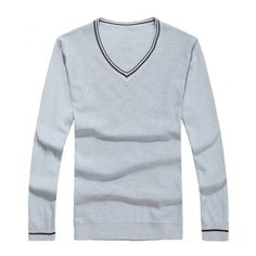Men Spring V-Neck Long Sleeve All Matching Slim Grey Knitting Sweater... ($21) via Polyvore