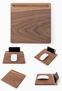 Wooden Mouse Pad With Smart Phone Stand