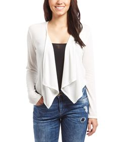 Love this Casa Lee White Cardigan by Casa Lee on #zulily! #zulilyfinds