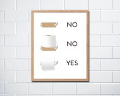 Fun Quirky Toilet Paper Instructions Sign by indigoSAGEdesign