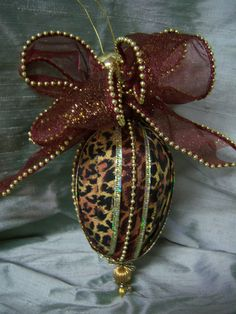 Large Leopard Print Fabric Christmas Ornament with by landgdesigns, $12.00