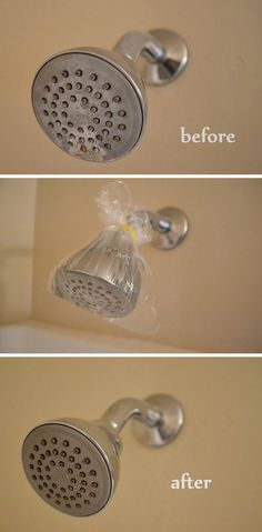 Clever trick for easy removal of scrum and mineral build-up from your shower head.