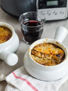 When I discovered that you can make caramelized onions in the slow cooker with no stirring and virtually no work, it was only a small step from there to French onion soup