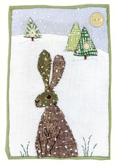 Machine Embroidery Hare in snow by Sharon Blackman Free Motion Embroidery, Free Machine Embroidery, Embroidery Applique, Applique Quilts, Freehand Machine Embroidery, Patchwork Quilting, Fabric Cards, Fabric Postcards, Applique Patterns