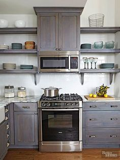 Open shelves eliminate the heavy look of closed cabinetry and lighten up small spaces Closed base cabinets provide storage for utilitarian notsodisplayworthy pieces while. Kitchen Cabinets, Small Kitchen, Open Kitchen Shelves, Kitchen Decor, New Kitchen, Kitchen Redo, Home Kitchens, Kitchen Renovation, Kitchen Design
