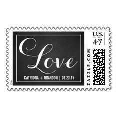 Vintage Typography Script Chalkboard Wedding Stamp