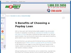 With so many quick cash methods being readily available to you at any given moment, it's absolutely crucial that you understand the benefits of a payday loan online or in-store and when it would be the better option for you, and your specific situation. Here are the top five reasons why a cash advance would be a great solution to your need of immediate cash.