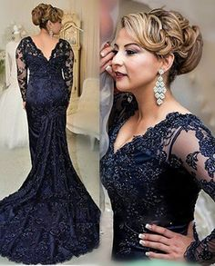 Get 16% OFF NOW! Look sumptuous in this navy blue classic mother of the bride dress, you'll be the star of the marriage ceremony, after the bride! It's the perfect mother of the groom dress for a traditional wedding to look chic and class. See more at   http://www.cutedresses.co/go/Navy-Blue-V-neck-Lace-Mermaid-Mother-Of-Bride-Dress