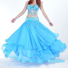 turquoise chiffon belly dance skirt,belly dance clothing,belly dancewear
