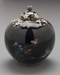Lidded Jar with Design of Birds amid Flowering Plants Namikawa Yasuyuki (Japan, 1845-1927) Japan, 19th century Furnishings; Serviceware Cloisonné enamel with silver wires and mounts
