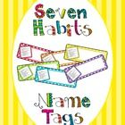 Who said stripes and polka dots don't go together? Brighten up your students' desks and teach the 7 habits at the same time with these rainbow colo...