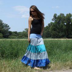 Dlouhá sukně modrá, vel. S Tie Dye Skirt, Skirts, Fashion, Moda, Fashion Styles, Skirt, Fashion Illustrations, Gowns