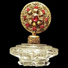 Vintage Czech Jeweled Perfume Bottle w/ Ruby Red Stones : Fifi's Antique Perfume Bottles & Rare Compacts   Ruby Lane