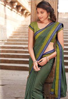 Green-Blue Color Crape Designer Saree