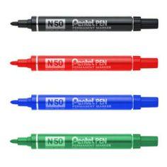 ROTULADOR PENTEL PEN N50. Pentel Pen Permanent Marker N50. Rotulador de tinta permanente de secado rápido y punta cónica. Colores: Verde, Rojo, Negro o Azul.