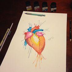 Hearth Watercolor Tattoo