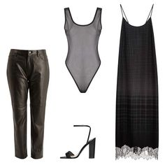 J Brand black Casey boyfriend mid-rise leather trousers, $1,128; liberty.co.uk; Boohoo Jennifer all over mesh bodysuit, $16; boohoo.com; Clover Canyon menswear slip dress, $275; modaoperandi.com; Theory Kala heel in Arden, $595; theory.com