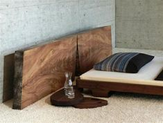 Modern Rustic Solid Wood Bed Design Ideas with rounded table...looks like Walnut...<3 walnut!