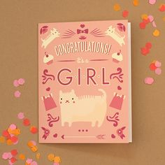 "Pink kitty cat ""it's a girl"" new baby card. Free Printables, Free Printable Templates and DIY Templates Baby Girl Cards, New Baby Cards, Origami, Congratulations Baby Girl, Free Baby Shower Printables, Free Printables, Baby Shower Announcement, Birthday Cards For Her, Diy Inspiration"