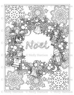 Noel Christmas Wreath with Dolls Coloring Page by MollyHarrisonArt Colouring Pages, Coloring Books, Adult Coloring, Coloring Sheets, Plastic Canvas Ornaments, Christmas Coloring Pages, Christmas Wallpaper, Collage Sheet, Christmas Colors