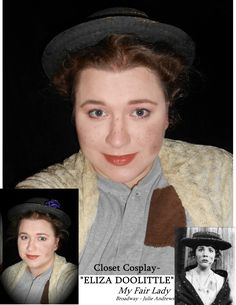 """Stage & Screen Selfies: Eliza Doolittle (My Fair Lady) *Also, Happy Belated Birthday Julie Andrews* My (problematic) fav! My Fair Lady has been my absolute favorite musical forever- And I'll probably never get to play """"Eliza"""", but I'm happy to dress up whenever I get the chance.  COSTUME: Closet Cosplay – Every piece I already owned, just did a few alterations (painted the hat, built the flowers, added patch to shirt). MAKEUP – Basic Stage beauty makeup with matte black """"dirt"""" smudges"""