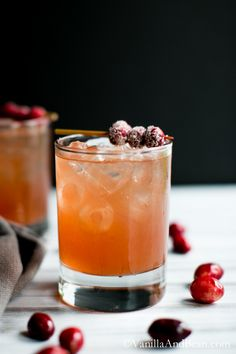 A festive ginger beer, citrus, and cranberry cocktail.   Vanilla And Bean