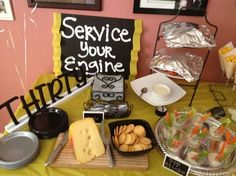 "Car themed party ""Service Your Engine"" FOOD TABLE (graduation party foods table) Car Themed Wedding, Car Themed Parties, Cars Birthday Parties, Birthday Ideas, Birthday Cookout, Hot Wheels Birthday, Race Car Birthday, Race Car Party, Birthday Bash"