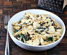 Chicken Ceaser Pasta made with whole wheat penne and Tuscan kale. Can you say dinner?