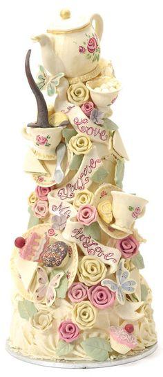 bridal tea cake idea | Cake. Unique tea party cake idea. Bridal / wedding shower cake ideas ...