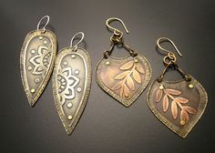 Etched metal earrings -- Cristina Leonard Metal Designs