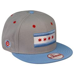 Chicago Cubs Snapback Grey & Sky Blue Hat with Chicago Flag by New Era Sock Store, 59fifty Hats, Wrigley Field, Grey Skies, Chicago Cubs, Snapback, Flag, Socks, Baseball Cards