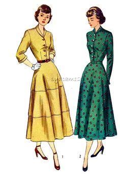 Vintage 1940 Pattern Shawl Collar Shirtwaist Flared Simplicity 2699 by sydcam123