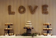 Rustic Farm Wedding - cake and cupcakes - tree slice stands - DIY Woodsy Country Themed Wedding | Tanglewood Barn | Winston-Salem, NC Photographer