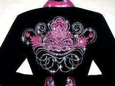 bling western showmanship shirts | ... > DELICATE PINK SCROLLS! MEGA BLING! Barrel Racing/Rodeo Queen Shirt