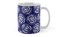 Buy 'Doodle Roses' Navy Blue and White coffee mug by Notsundoku | Redbubble. A repeat pattern of hand drawn doodle roses. #repeatpattern #patterns #roses #doodles #doodleart #flowers #handdrawn #Notsundoku # Redbubble  mug #coffeemugs #mugs