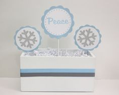 Christmas Centerpiece  Peace Blue & Silver by 5Mcreations on Etsy, $9.00