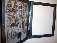 TO DO for me:  jewelry organizer -  picture frames to close on a hinge to hide jewelry (can even have a picture on the front of it)...maybe use shadow box for more depth!