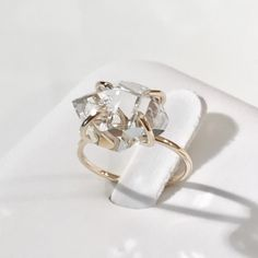 14k Diamond ring, 14k Herkimer diamond ring, 14K Herkimer Ring, 14k engagement ring, 14k Promise ring, 14k Gold ring, 10k Wedding ring by EllynBlueJewelry on Etsy https://www.etsy.com/listing/501087284/14k-diamond-ring-14k-herkimer-diamond