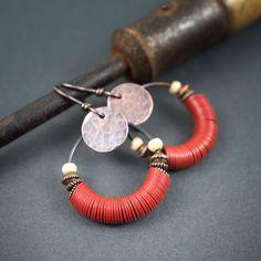 African hoop earrings • red vinyl heishi beads • Vulcanite • tribal earrings • handhammered copper discs • bone beads • circle earrings by entre2et7 on Etsy