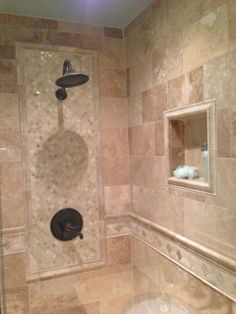tile design set in in the main shower wall and a custom shower bathroom - Bathroom Shower Tile Designs Photos