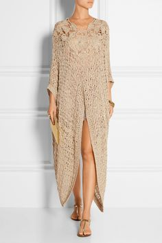 Anna Sui | Embellished crocheted kaftan | NET-A-PORTER.COM Moda Crochet, Knit Crochet, Crochet Clothes, Crochet Dresses, Knit Fashion, Kaftan, Spring Fashion, Knitwear, Fashion Dresses
