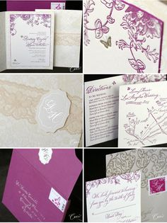 Keep your invitations classically sophisticated with a minimal colour palette. Focus on a strong individual  colour like purple against patterns in subtle ivory to give texture & dimension.