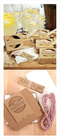 mini pie boxes for wedding favors #weddingfavors #minipies #weddingchicks http://www.weddingchicks.com/2014/02/25/mini-pie-wedding-favors/