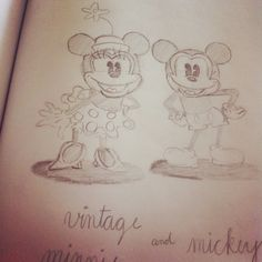 Vintage Minnie and Mickey drawing