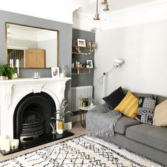 and work together to create a harmonious grey colour scheme in this contemporary living room. The subtle mustard accents… – Living Room Living Room Color Schemes, Living Room Colors, New Living Room, Living Room Modern, Small Living, Grey Living Rooms, Living Room Decor Ideas Grey, Grey Living Room Ideas Colour Palettes, Contemporary Living Room Decor Ideas