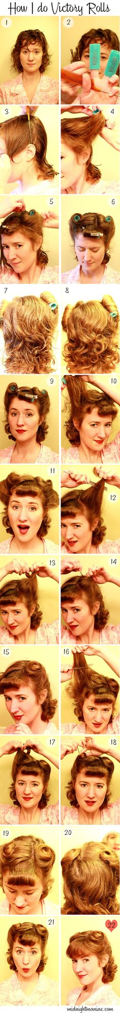 """How to do a """"victory rolls"""" 1940's hairstyle. So THAT'S how my grandma did it.                                                                                                                                                                                 More"""