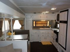 Camper Travel Trailer RV remodel, My parents gave us their old camper....now they want it back!, Kitchen after, Other Spaces Design